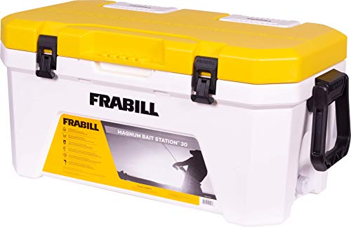 Frabill Magnum Bait Station 30 | 30 Quart Bait Cooler with Dual Aeration, White and Yellow