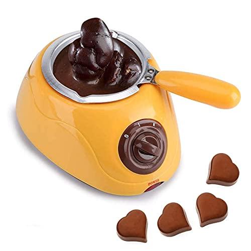 JIEZ Fundidor eléctrico de Chocolate, Olla de plástico para fundir Chocolate Caliente, máquina fundidora de Fondue eléctrica, Herramienta de Cocina con Juego de moldes para Bricolaje, Amarillo