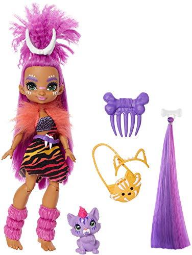 Cave Club Roaralai Doll, Purple Hair, Poseable Prehistoric Fashion Doll with Dinosaur Pet and...