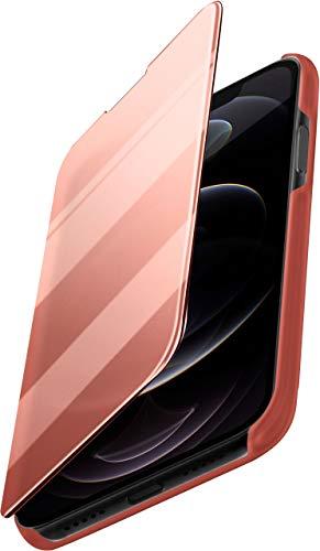 moex Dünne 360° Handyhülle passend für iPhone 12/12 Pro | Transparent bei eingeschaltetem Bildschirm - in Hochglanz Klavierlack Optik, Rose-Gold