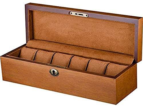 Hoge kwaliteit Stevige Houten Watch Box Organizer 6-Slot Vitrine Storage Box Sieraden Juwelen Doosjes cadeau for mannen Creative Simple Retro, Watch Box Watch Box Case sieraden display Storage