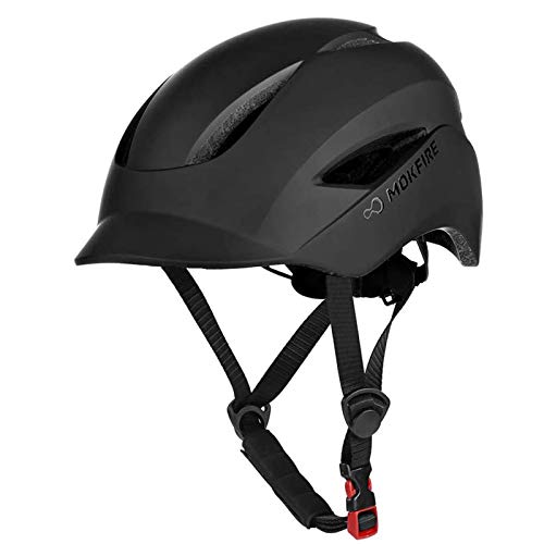 MOKFIRE Adult Bike Helmet That's Light, Cool & Sleek, Bicycle Cycling Helmet with Rear Light for Urban Commuter Adjustable Size for Adults Men/Women - Black