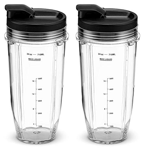 24OZ Cup for Nutri Ninja Blender Replacement Parts with Spout Lids Fits Nutri Ninja Blenders 900W BL450 and 1000W Auto-iQ BL480 BL482 BL482-30 BL682 (Pack of 2) by Poweka