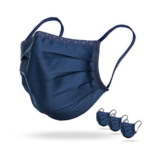 Isko Vital Supreme Gesichtsschutz in Indigo – Waschbarer Mundschutz mit Nasenbügel aus Bio-Baumwolle – Für Jungen und Mädchen – 3 einzeln verpackte Masken in der Größe S