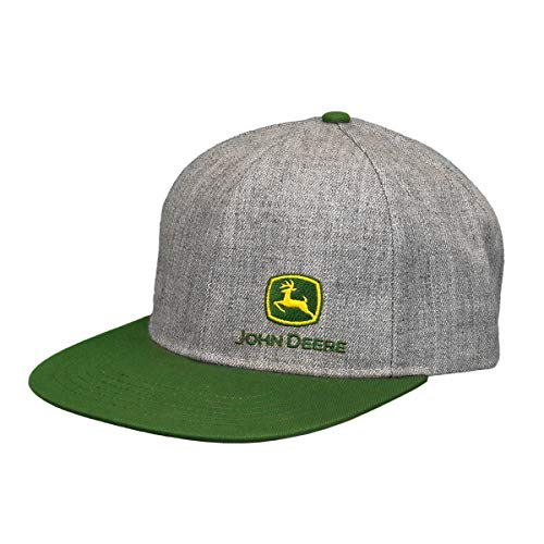 John Deere Tractors Men's Off-Center Embroidered Logo Snapback Hat, Grey/Green