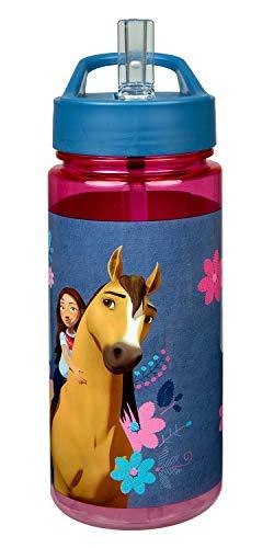 Scooli SIPR9913 Aero Trinkflasche aus Kunststoff mit integriertem Strohhalm und Trinkstutzen, DreamWorks Spirit, BPA und Phthalat frei, ca. 500 ml