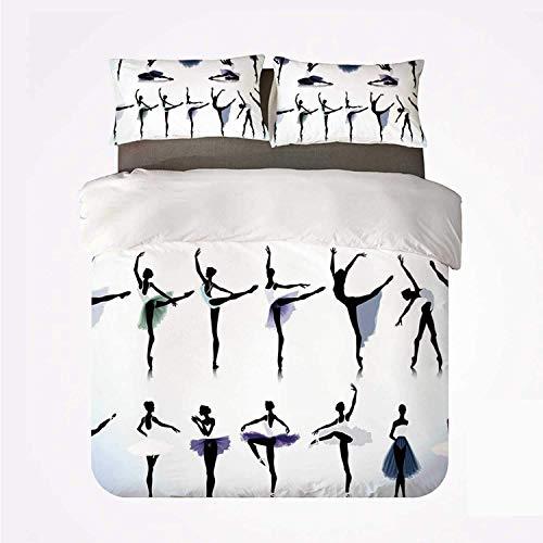 Soefipok Juego de Funda nórdica Apartment Decor Nice 3 Juego de Cama, Bailarinas de Ballet Femenino Siluetas Ilustración Diseño artístico Imprimir para Sala de Estar