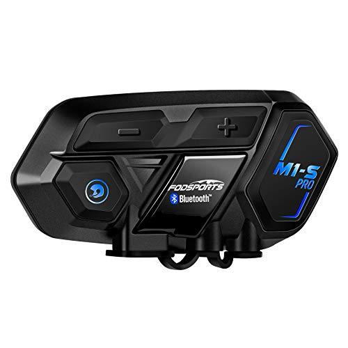 FODSPORTS M1S Pro Intercomunicador Casco Moto con CVC Reducción De Ruido,Hi-Fi,Intercomunicador 8 Jinetes,Manos Libres Bluetooth Auricular,Comando De Voz,La Guía De Voz De GPS,900mAh