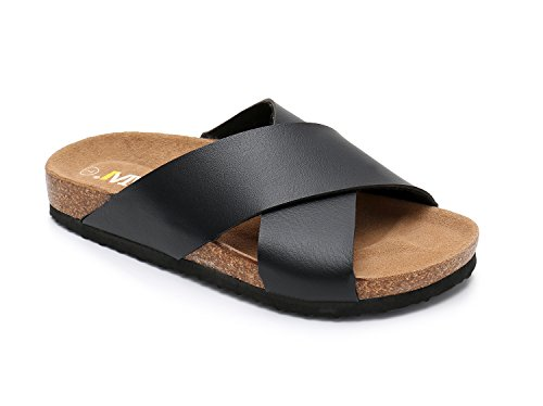 Women Leather Sandals Arizon Slide Shoes (US 9, Black)