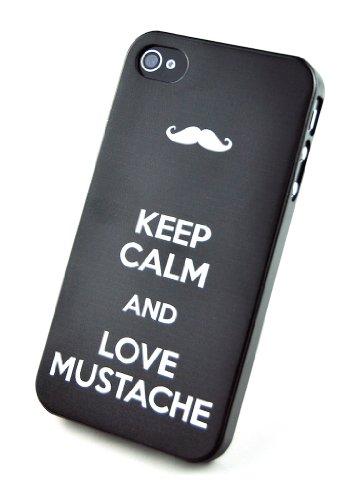 Circle Case 3D Custodia per iPhone 4/4S, Keep Calm e Love Moustache, Multicolore