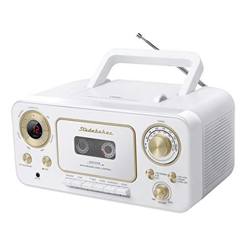 Studebaker SB2135WG Portable Stereo CD Player with AM/FM Radio and Cassette Player/Recorder (White Gold)