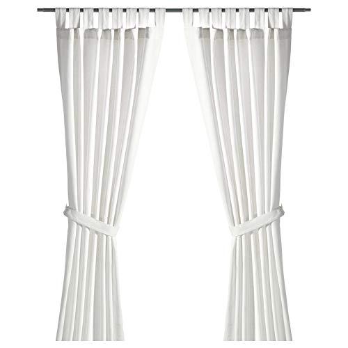 IKEA ASIA LENDA - Cortinas con alzapaños (1 par), color blanco