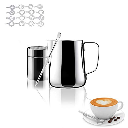 Milk Frothing Pitcher with Measurement Inside Stainless Steel Steam Pitchers for Coffee Cappuccino Latte Art  Perfect for Espresso Machines 12oz/350ml