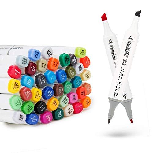 40/60/80 Marker Pens verdoppelt spitzt Marker Stifte für Kunst Sketch Twin färbig Highlighters mit Tragetasche für Malerei Coloring Hervorhebungen und Unterstreichungen (40 Set weiß)