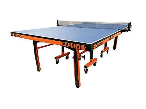 Gymnco Massive Table Tennis Table with 100 MM Wheel (Top 25 mm Laminated Compressed & Free TT Table Cover + 2 TT Racket & Balls)