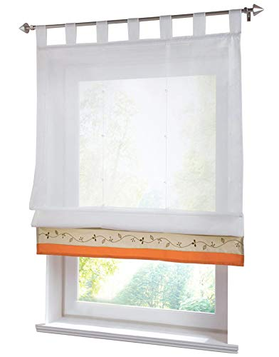 BAILEY JO 1er-Pack Schlaufen Raffrollo Mit Bestickt Gardinen Transparent Voile Vorhang (BxH 80x155cm, Terrakotta)