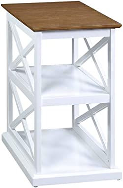 Convenience Concepts Oxford Deluxe 3-Tier End Table, Driftwood/White