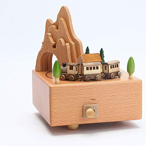 Caja de música de madera, cajas de madera para niñas, manualidades enrolladas, regalo de cumpleaños grabado, caja de accesorios para el hogar