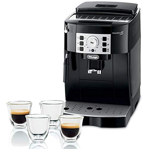 Pack De'Longhi Magnifica S, Machine expresso avec broyeur ECAM22.110.B, Noir + 4 tasses à espresso De'Longhi