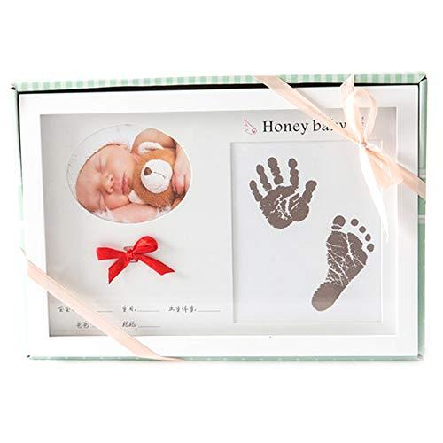 Encre bébé main et pied Baby Hand And Foot Print - MDF, croissance créative et protection de l'environnement, ensemble de table à suspendre, bébé, 100 jours empreintes de main, cadre de photo commémor