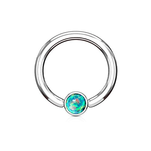 PiercedOff 316L Surgical Steel BCR Captive Ring with Synthetic Green Opal...