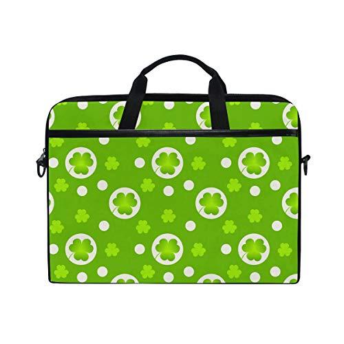 LZXO Laptop-Tasche, 38,1 cm (15 Zoll), Aktentasche, Glücksklee, gepunktet, Laptop, Schultertasche, Messenger-Tasche, Tragetasche, Handtasche, Schule, Computer-Tasche mit Riemen für Herren und Damen
