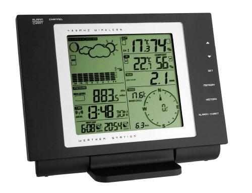 TFA Dostmann Nexus  Funk Wetterstation, 35.1075, mit Wind- und Regenmesser, Wetterbeobachtung, Wetter-Aufzeichnung, schwarz