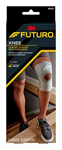 Futuro - 70005242170 FUTURO Comfort Knee Support with Stabilizers, Ideal for Sprains, Strains, and General Support, Breathable, Large grey