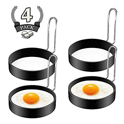FireKylin Egg Ring,4 Pack Stainless Steel Egg Cooking Rings Set, Round Pancake Mould Omelette Mold for Frying Egg English Muffins Pancake Sandwiches
