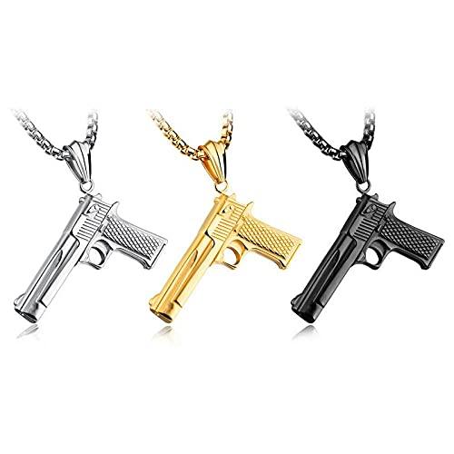 Collares Collar para hombre con pistola automática Hip Hop Rock con colgantes de acero inoxidable, joyería con cadena de oro de 60 cm-Silver_60cm