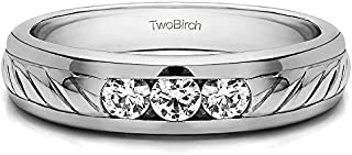 TwoBirch Sterling Silver Men's Wedding Ring with Ribbed Shank With Cubic Zirconia (0.5Ct. Size 12.5)