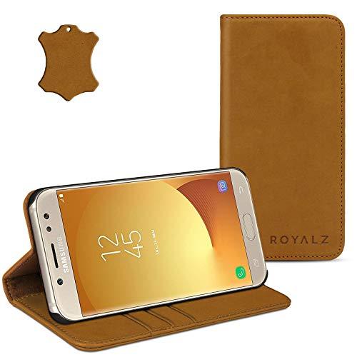 ROYALZ Leder Hülle für Samsung Galaxy J5 2017 Tasche (für Galaxy J5 Duos 2017 SM-J530F) Cover Vintage Schutzhülle - mit unsichtbaren Magnet, Farbe:Camel Braun