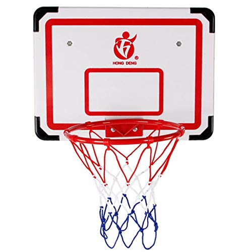 El juego de aro de baloncesto, las puertas grandes de interior y los regalos de juguete de aro de baloncesto de pared son muy adecuados para niños, niñas y adolescentes, blanco + rojo, 50 cm × 37 cm