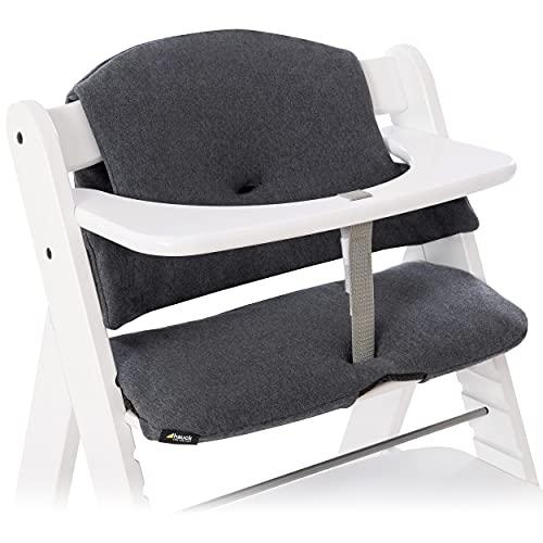 Hauck Sitzauflage/Sitzverkleinerer für Hochstuhl Alpha und Beta - 2-teiliges Sitzkissen aus Baumwolle mit Anti-Rutsch-Beschichtung - Jersey Charcoal Grau