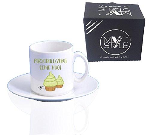 My Custom Style 2 tazzine Espresso Ceramica Personalizzabili + piattini