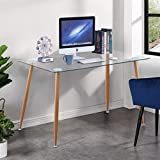 GOLDFAN Morden Glass Computer Desk Table on Workstation Office Home Utility Study Writing Desk 120x70x75cm(Only Table)