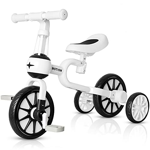VOKUL 3 in 1 Kids Balance Bike with Detachable Pedals,Baby Walking Tricycle/Bicycle for 2-4 Years Old Toddler , Boys & Girls Trike 3 Wheel Bike Trikes for Toddler (BlkWht) …