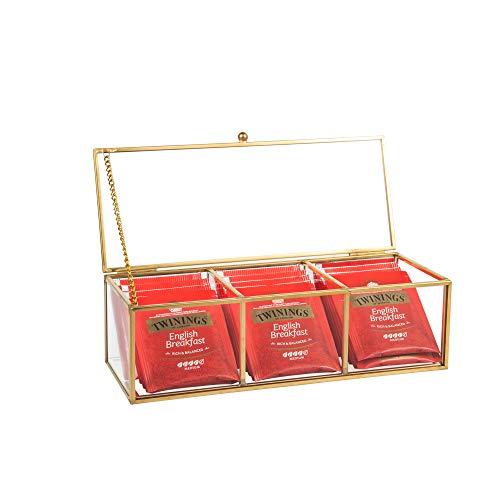 Feyarl - Joyero de Cristal Dorado para joyería, Caja de Almacenamiento para Anillos, Pendientes, Caja de Cristal Transparente Decorativa, Expositor de Belleza