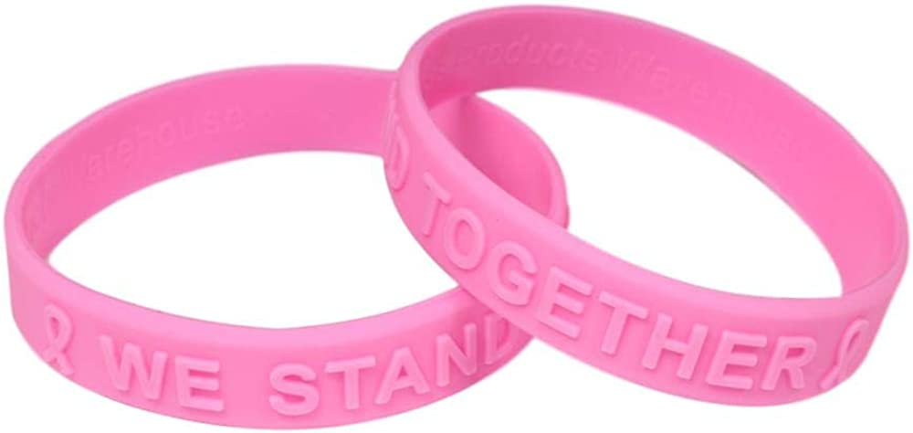 Pink Ribbon Awareness Embossed Bracelet Cheap mail order sales Silicone New color