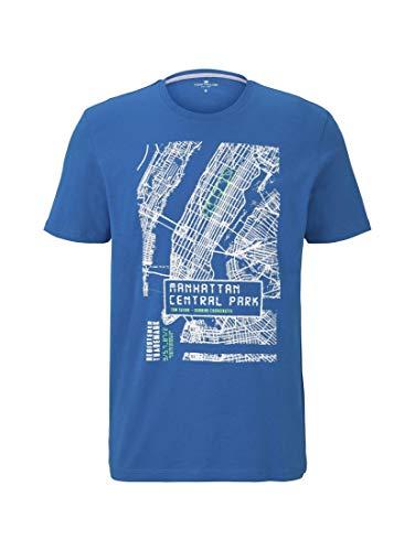 Tom Tailor Motiv Camiseta, 15527-Azul Turquesa eléctrico, S para Hombre