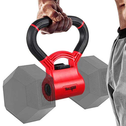 Yes4All Kettlebell Grip - Kettle Grip New Version - Kettle Grip Handle to Convert Dumbbells into Kettlebells for Workouts