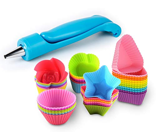 Cupcake Baking Cup Molds Bundle Easy Clean Pastry Liners 48 Nonstick Reusable Silicone Muffin Molds with Icing Pen Cupcake & Cake Decorating Pen Set