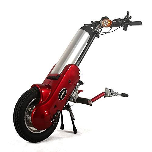 MOIMK 12 Zoll 36V 400W Elektrische Rollstuhl Traktor Handcycle Handbike DIY Elektrische Rollstuhl Conversion Kits mit 36V 15Ah Batterie,Rot
