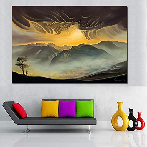 Plakate und Drucke Leinwand Wandkunst Malerei Berglandschaft Malerei Wandbild auf Wohnzimmer Leinwand Wohnkultur rahmenlose Malerei 20cmX30cm