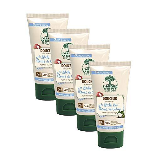 L'arbre vert Shampooing Douceur pour Toute la Famille Petit Format 75 ml - Lot de 4