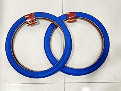 MZ PARTS MIAMI 20x2.125 Tires Bicycle (57-406) Two BMX Street Bicycle Tires (Blue)