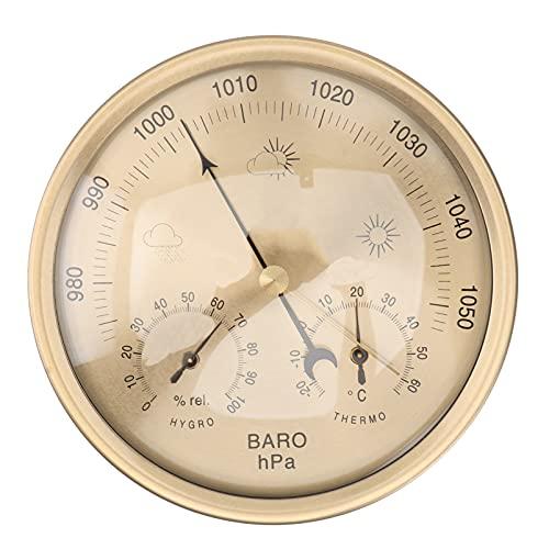 HEALLILY Barómetro de Dial Estación Meteorológica Tradicional Medidor de Presión Meteorológica Higrómetro con Temperatura Y Humedad
