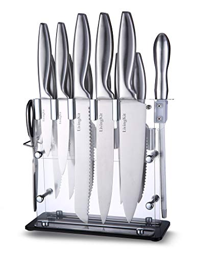Knife Set Knife Block Set Stainless Steel Chef Knife Set 14 Piece Super Sharp Kitchen Knife Set with Acrylic Stand