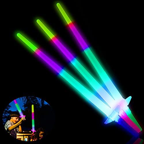 Ulikey Espada Láser de Juguete, 3 Piezas Juguete de Luminosos, Fiesta Luminoso Juguetes, Juguetes Luminosos con LED, LED Niños Fiesta Luminoso Juguetes, Cumpleaños para Fiestas Favores