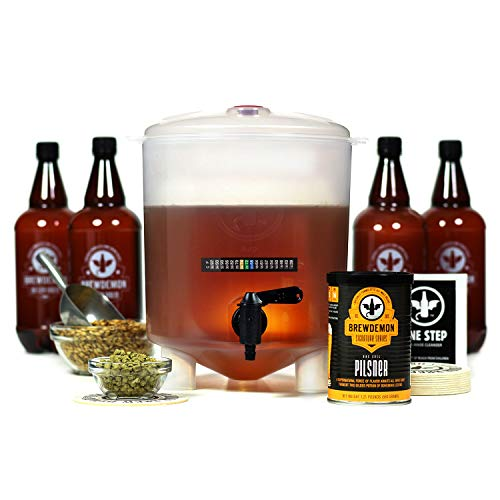 BrewDemon Craft Beer Kit with Bottles - Conical Fermenter Eliminates Sediment and Makes Great Tasting Home Made Beer - 1 gallon pilsner kit
